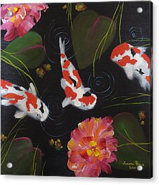 Acrylic Print featuring the painting Kippycash Koi by Judith Rhue