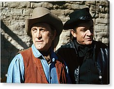 Acrylic Print featuring the photograph Kirk Douglas Johnny Cash A Gunfight  Old Tucson Arizona 1971 by David Lee Guss