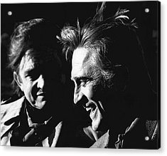 Acrylic Print featuring the photograph Kirk Douglas Laughing Johnny Cash Old Tucson Arizona 1971 by David Lee Guss