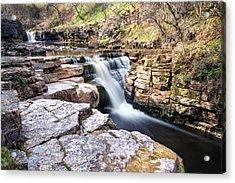 Kisdon Force Waterfall Acrylic Print by Chris Frost