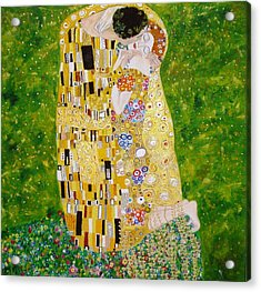 Acrylic Print featuring the painting Kiss G.klimt by Nina Mitkova