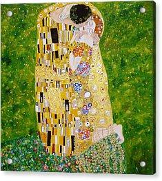 Kiss G.klimt Acrylic Print by Nina Mitkova
