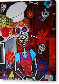 Kiss The Cook Acrylic Print by Pristine Cartera Turkus