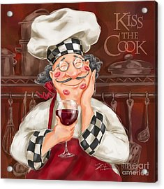 Kiss The Cook Acrylic Print by Shari Warren