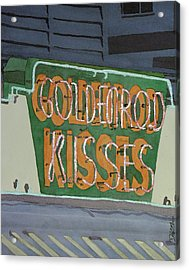 Kisses Neon Sign Acrylic Print by Daryl Shaw