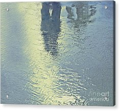 Kissing Couple With Palm Reflection Acrylic Print by Cindy Lee Longhini