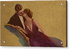 Kissing On The Chaise-longue Valentine Acrylic Print by Sarah Vernon