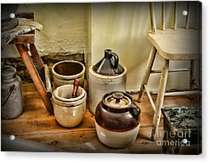 Kitchen Old Stoneware Acrylic Print by Paul Ward