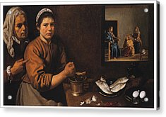 Kitchen Scene With Christ In The House Of Martha And Mary Acrylic Print by Diego Velazquez