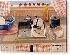 Kitchen Sink Bubba Lees 1997  Skewed Perspective Series 1991 - 2000 Acrylic Print by Larry Preston
