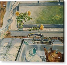 Acrylic Print featuring the painting Kitchen Sink by Joy Nichols