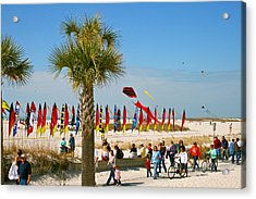 Kite Day At St. Pete Beach Acrylic Print by Greg Joens