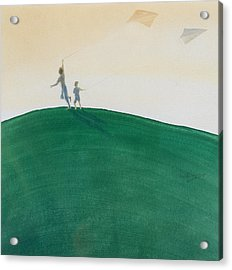 Kite Flying Acrylic Print by Lincoln Seligman