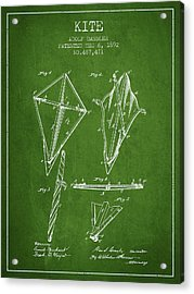 Kite Patent From 1892 - Green Acrylic Print by Aged Pixel