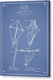 Kite Patent From 1892 - Light Blue Acrylic Print by Aged Pixel