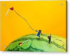 Kite Runner On Watermelon Acrylic Print by Paul Ge