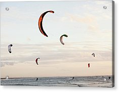 Kite Surfers Acrylic Print by Ashley Cooper
