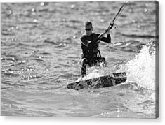 Kite Surfing Black And White Acrylic Print by Dan Sproul