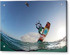 Kite Surfing Acrylic Print by Louise Murray