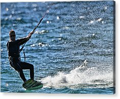 Kite Surfing Splash Acrylic Print by Dan Sproul