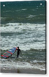 Kiteboarder Pacific Coast Highway Acrylic Print by Gail Maloney