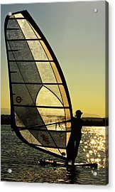Acrylic Print featuring the photograph Kiteboarder Sunset by Sonya Lang