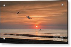 Kiteboarding At Sunset Acrylic Print by Tammy Smith