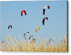 Kites Of Kite Surfers In Front Of Hotel Acrylic Print by Ben Welsh