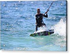 Kitesurfing Lake Michigan Acrylic Print by Dan Sproul