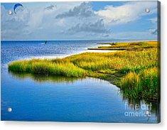 Kitesurfing On Ocracoke Outer Banks Acrylic Print by Dan Carmichael