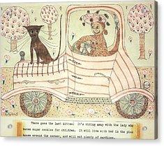 Kitten On Car Acrylic Print by Eleanor Arbeit