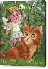 Kitten With Girl Fairy In Garden Acrylic Print by Martin Davey