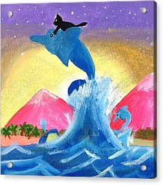 Kitty On A Dolphin Acrylic Print