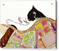 Kitty Sleeping Under Quilt Acrylic Print by Carol Berning