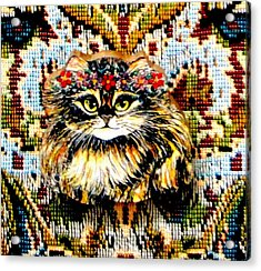 Kitty Wooden Pin Acrylic Print by Natalie Holland