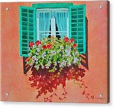 Kitzbuhel Window Acrylic Print by Mary Ellen Mueller Legault