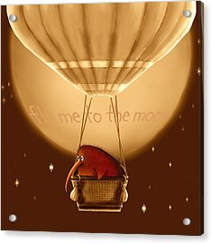 Kiwi Bird Kev - Fly Me To The Moon - Sepia Acrylic Print