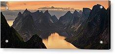 Kjerkfjorden Among Dramatic Mountain Acrylic Print by Panoramic Images