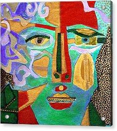 Klimt Face Acrylic Print by Diane Fine