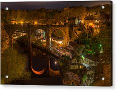 Knaresbrough Viaduct At Night Reflection Acrylic Print