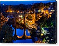 Knaresbrough Viaduct Night Reflection Acrylic Print by Dennis Dame