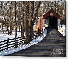 Knecht's Bridge On Snowy Day - Bucks County Acrylic Print by Anna Lisa Yoder