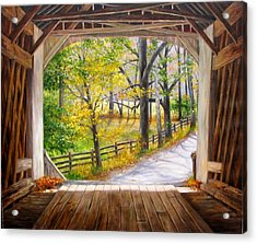 Knecht's Covered Bridge Acrylic Print by Helen Lee Meyers