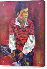 Acrylic Print featuring the painting Kneeling Boy by Walter Fahmy