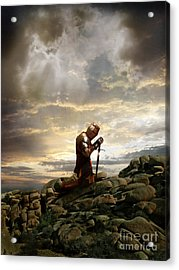 Kneeling Knight Acrylic Print by Jill Battaglia