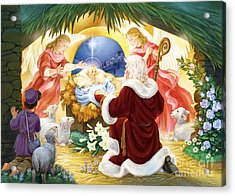 Kneeling Santa Nativity Acrylic Print