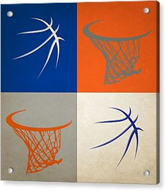 Knicks Ball And Hoop Acrylic Print by Joe Hamilton