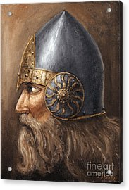 Acrylic Print featuring the painting Knight by Arturas Slapsys