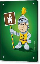 Knight Cartoon Man Castle Sign Acrylic Print