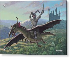 Knight Riding On Flying Dragon Acrylic Print